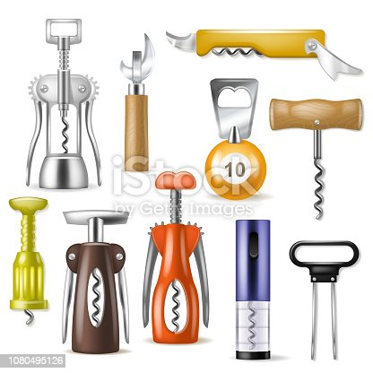 Corkscrew vector bottle-screw open wine drink and vintage tailspin screwing alcohol bottle illustration realistic set of winery opener corkscrewed equipment isolated on white background.