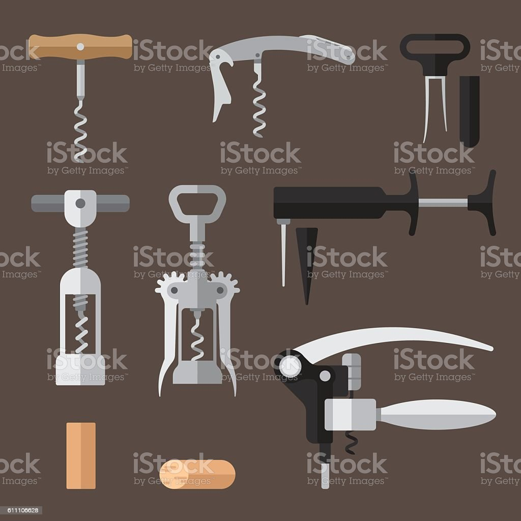 Corkscrews set vector art illustration