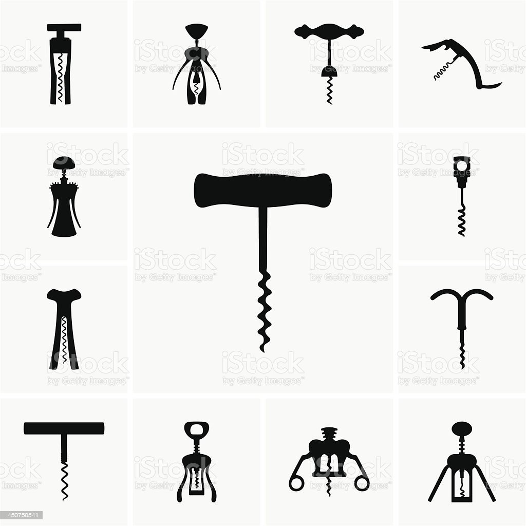 Corkscrews vector art illustration