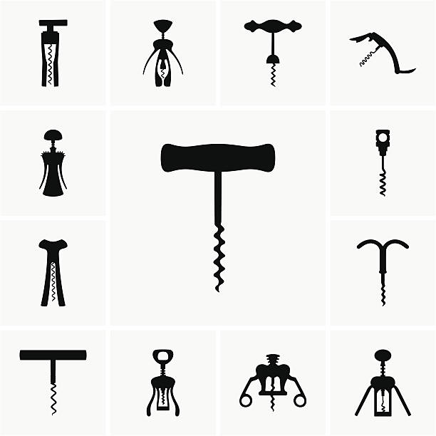 stockillustraties, clipart, cartoons en iconen met corkscrews - kurk
