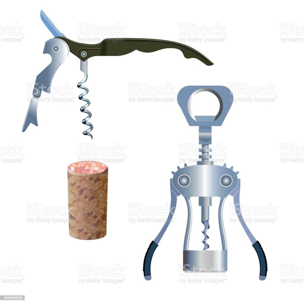Corkscrews with cork vector art illustration