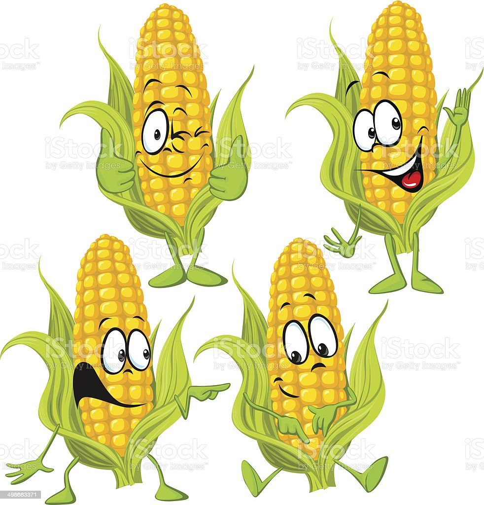 corn cartoon vector art illustration