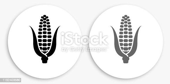 Corn Cob Black and White Round Icon. This 100% royalty free vector illustration is featuring a round button with a drop shadow and the main icon is depicted in black and in grey for a roll-over effect.