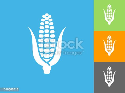 Corn Cob Flat Icon on Blue Background. The icon is depicted on Blue Background. There are three more background color variations included in this file. The icon is rendered in white color and the background is blue.