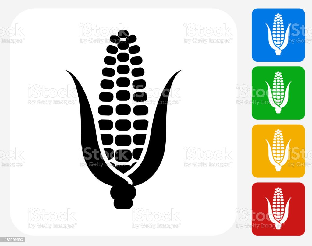 Corn Cob Icon Flat Graphic Design vector art illustration