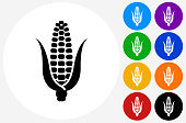 Corn Cob Icon on Flat Color Circle Buttons. This 100% royalty free vector illustration features the main icon pictured in black inside a white circle. The alternative color options in blue, green, yellow, red, purple, indigo, orange and black are on the right of the icon and are arranged in two vertical columns.