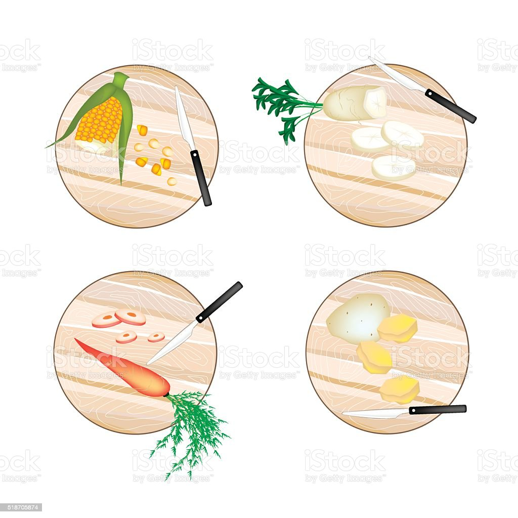 Corn, Daikon Radish, Carrots and Potatoes on Cutting Board vector art illustration