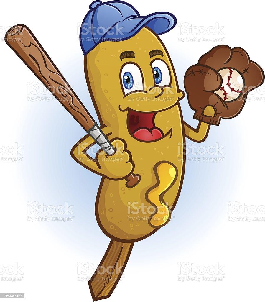 Corn Dog Baseball Cartoon Character vector art illustration