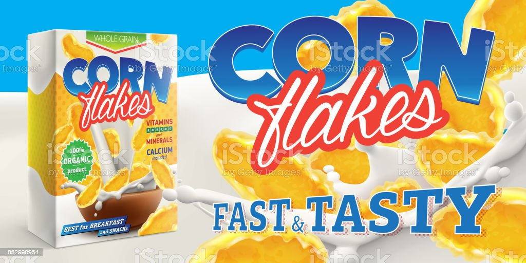Corn flakes advertising poster with box and big splash of pouring milk vector realistic illustration - Royalty-free Abdominais arte vetorial