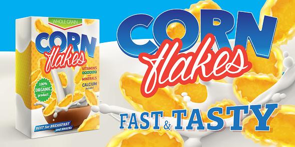 Corn Flakes Advertising Poster With Box And Big Splash Of Pouring Milk Vector Realistic Illustration - Arte vetorial de stock e mais imagens de Abdominais