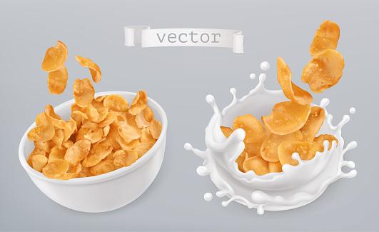 Corn Flakes And Milk Splashes 3d Realistic Vector Icon Set - Arte vetorial de stock e mais imagens de Alimentação Saudável
