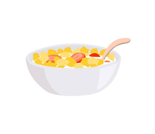ilustraciones, imágenes clip art, dibujos animados e iconos de stock de escamas de maíz y fresa en un tazón con leche y cuchara aislada sobre fondo blanco. - corn flakes