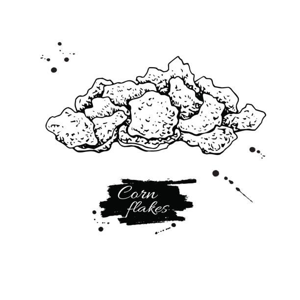 illustrazioni stock, clip art, cartoni animati e icone di tendenza di corn flakes hand drawn vector illustration. heap of granola muesli. - corn flakes
