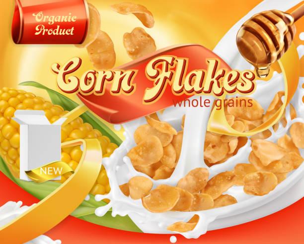 illustrazioni stock, clip art, cartoni animati e icone di tendenza di corn flakes, honey and milk splashes. 3d realistic vector, package design - corn flakes