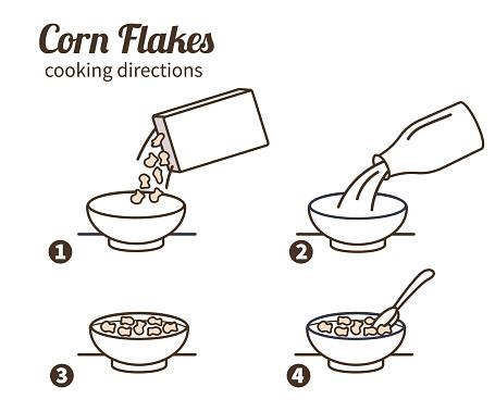 Corn Flakes Instruction - Arte vetorial de stock e mais imagens de Alimentação Saudável
