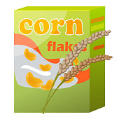 Corn flakes green paper packaging isolated on white. Vector colorful illustration of pack with healthy cereals food for breakfast.