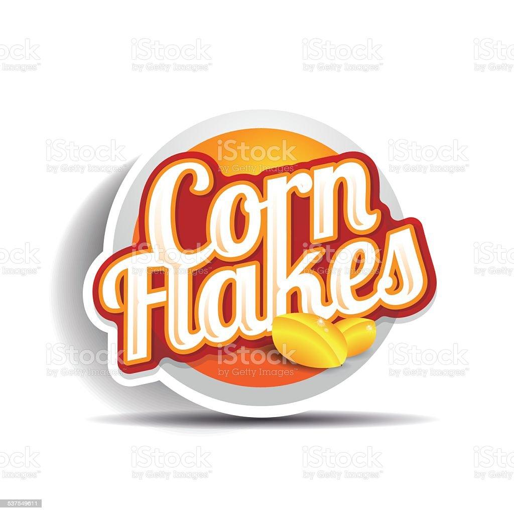Corn flakes vector label vector art illustration