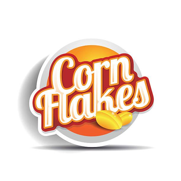 illustrazioni stock, clip art, cartoni animati e icone di tendenza di corn flakes vettoriale etichetta - corn flakes