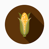 A flat design styled Thanksgiving icon with a long side shadow. Color swatches are global so it's easy to edit and change the colors.