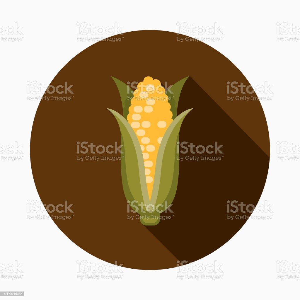 Corn Flat Design Thanksgiving Icon vector art illustration