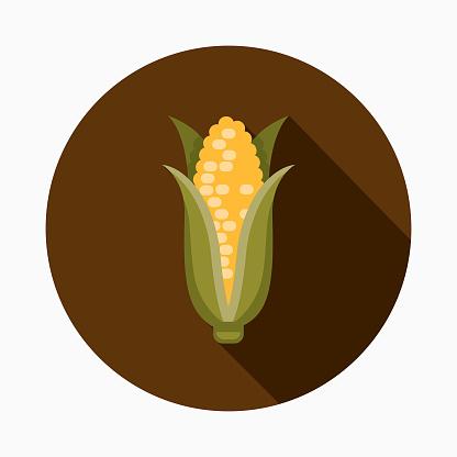 Corn Flat Design Thanksgiving Icon - Arte vetorial de stock e mais imagens de Canadá