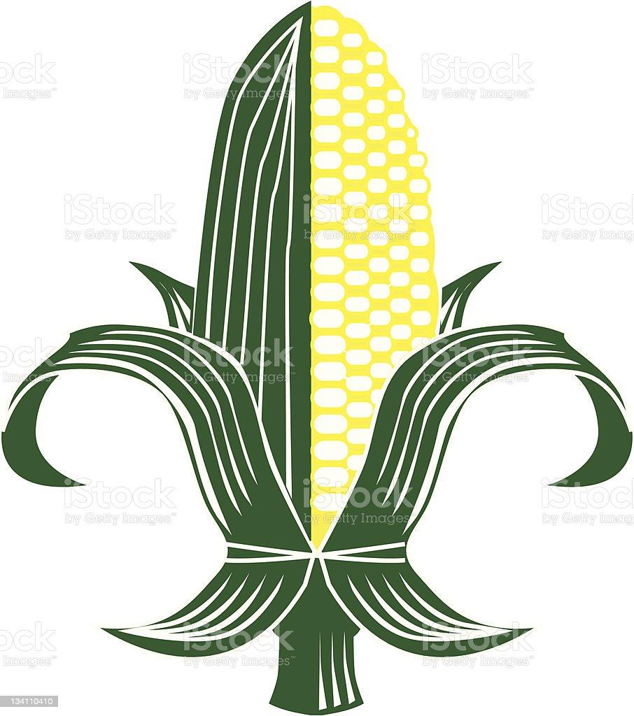 Corn Fleur-de-lis vector art illustration