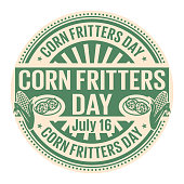 Corn Fritters Day,  July 16, rubber stamp, vector Illustration
