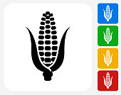 Corn Icon. This 100% royalty free vector illustration features the main icon pictured in black inside a white square. The alternative color options in blue, green, yellow and red are on the right of the icon and are arranged in a vertical column.