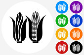 Corn Icon on Flat Color Circle Buttons. This 100% royalty free vector illustration features the main icon pictured in black inside a white circle. The alternative color options in blue, green, yellow, red, purple, indigo, orange and black are on the right of the icon and are arranged in two vertical columns.