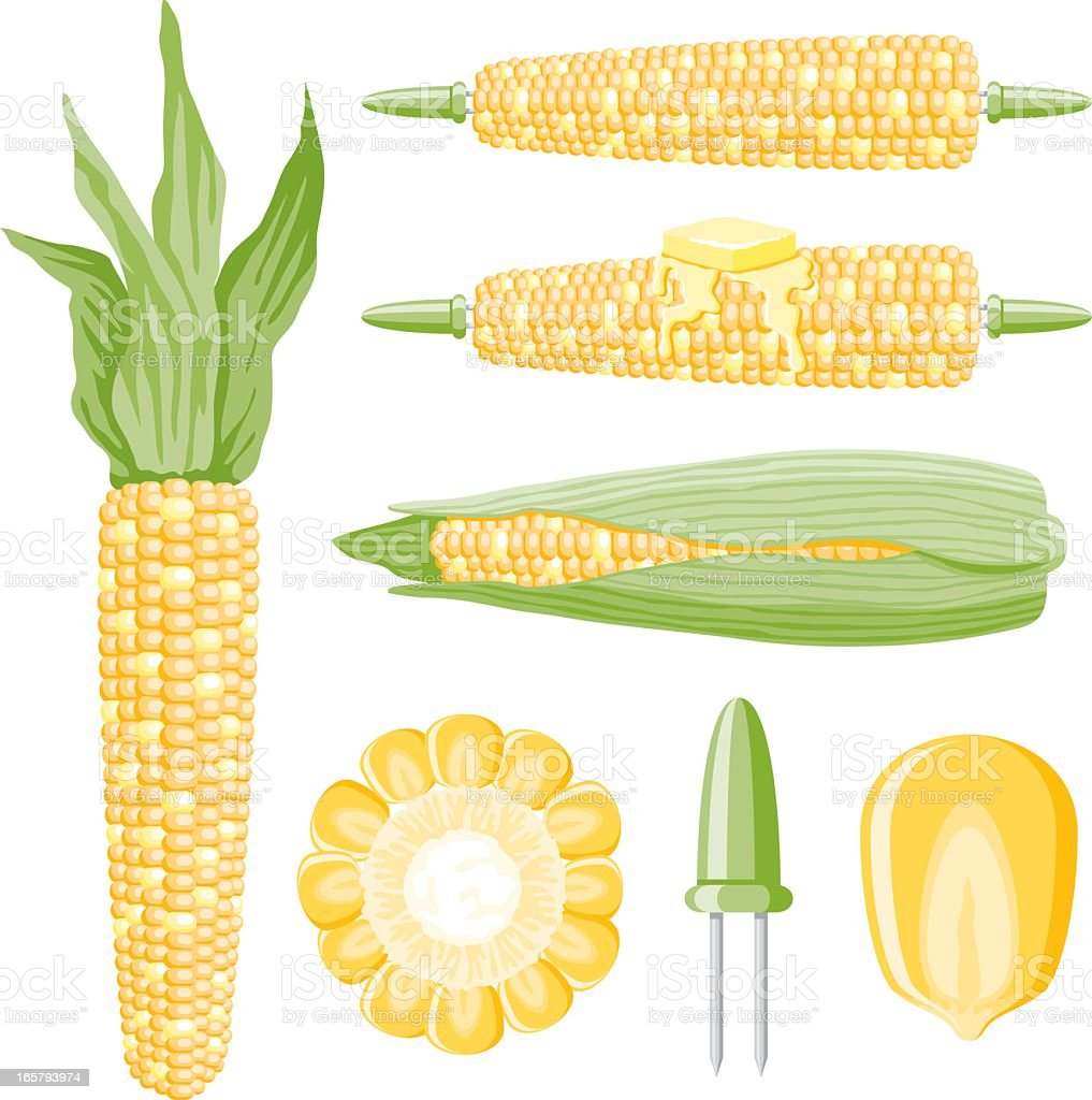 Corn Icons vector art illustration