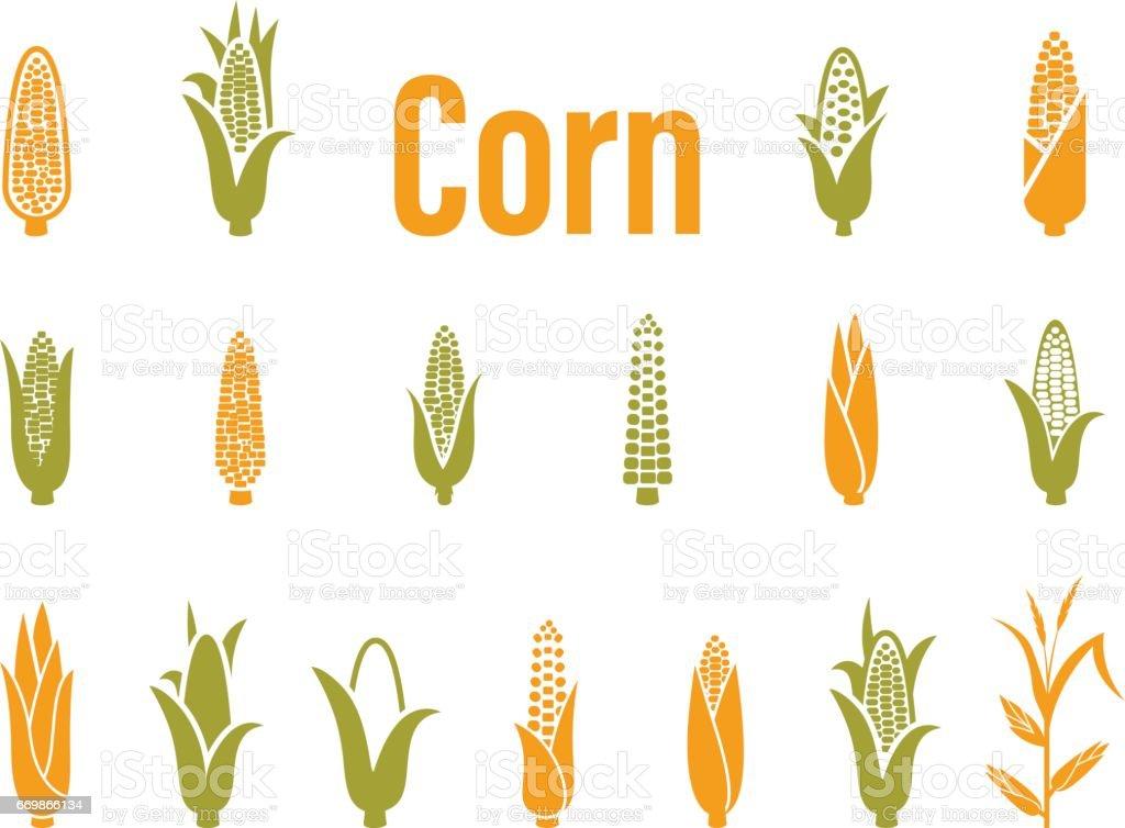Corn icons. Vector illustration isolated on white background. vector art illustration