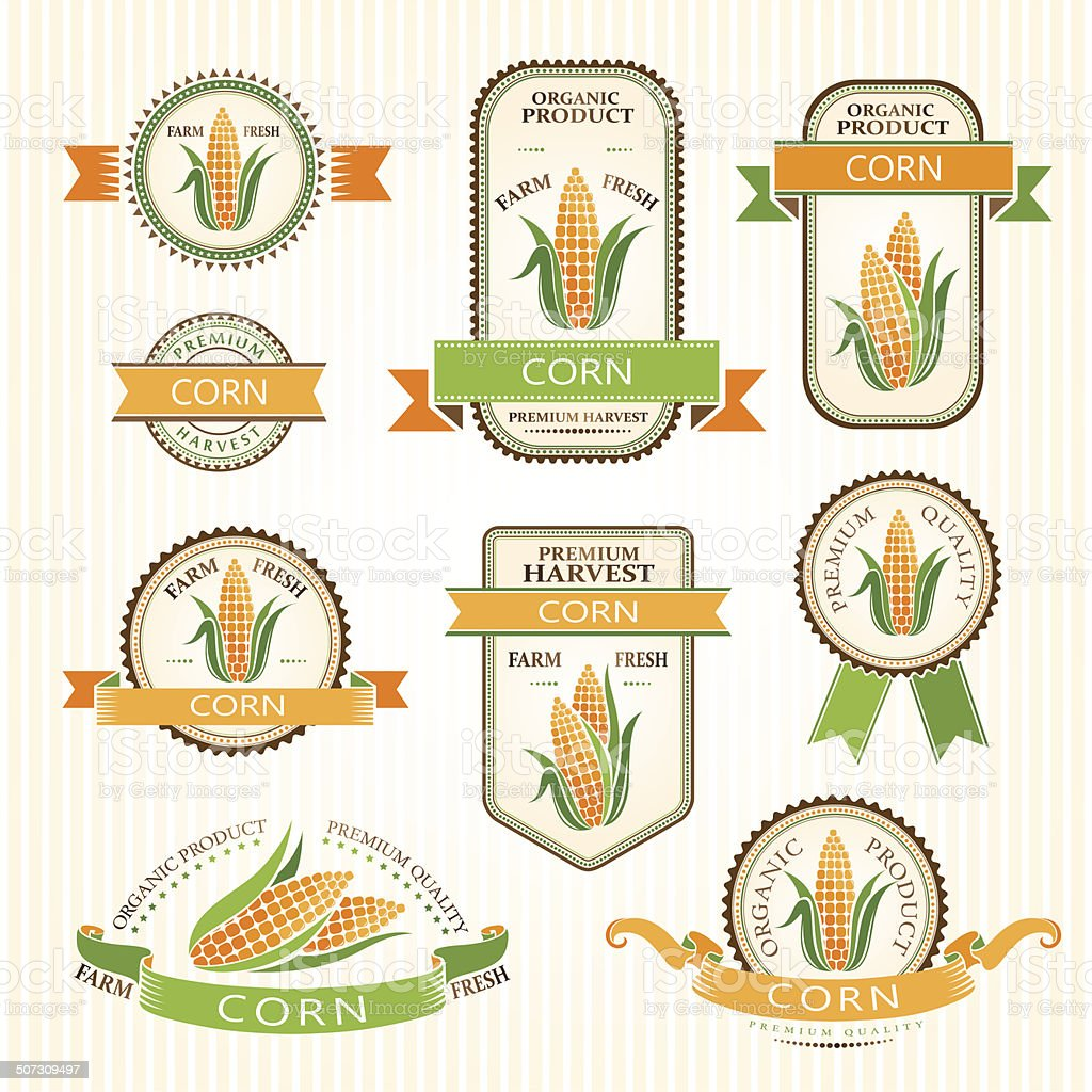 Corn labels. vector art illustration