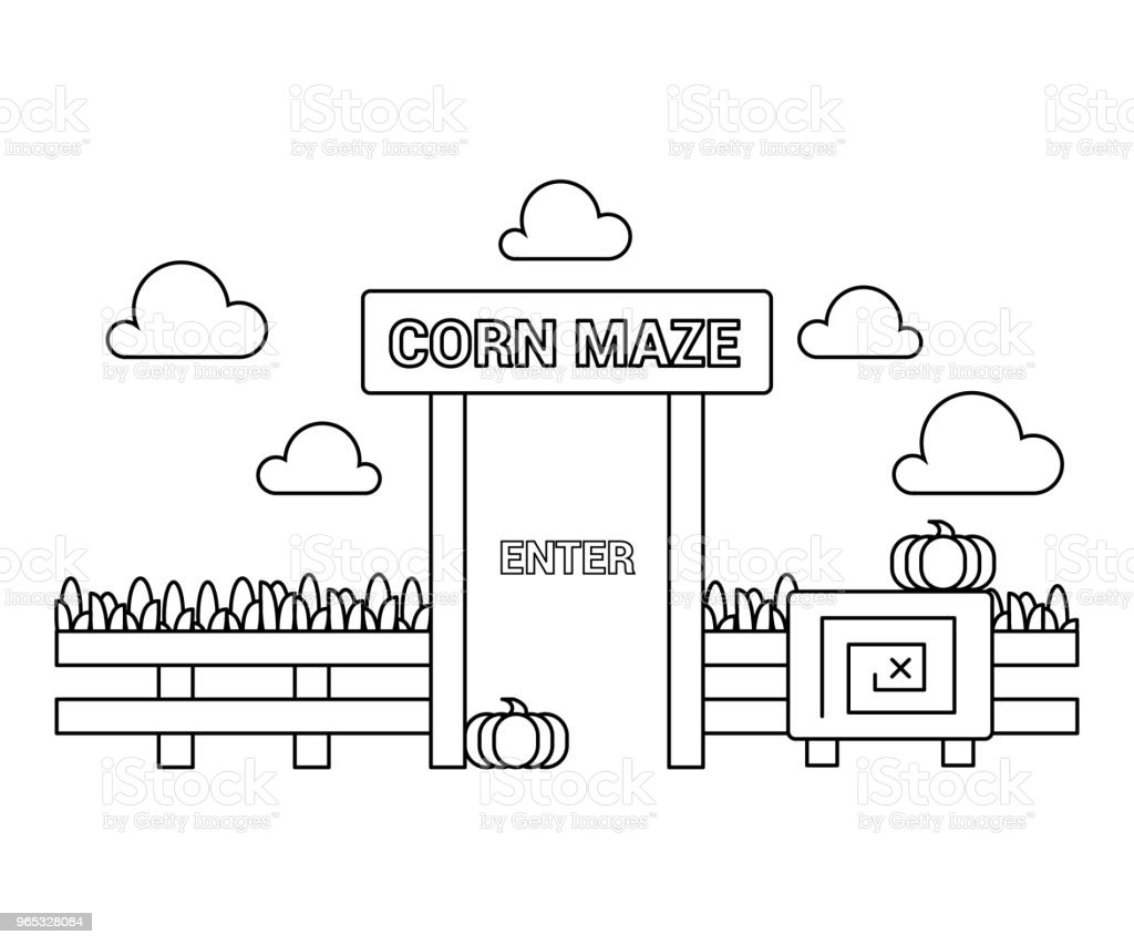 Corn maze party. Vector in a line. royalty-free corn maze party vector in a line stock vector art & more images of agricultural field