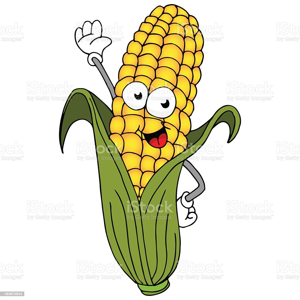 Corn On The Cob Character vector art illustration