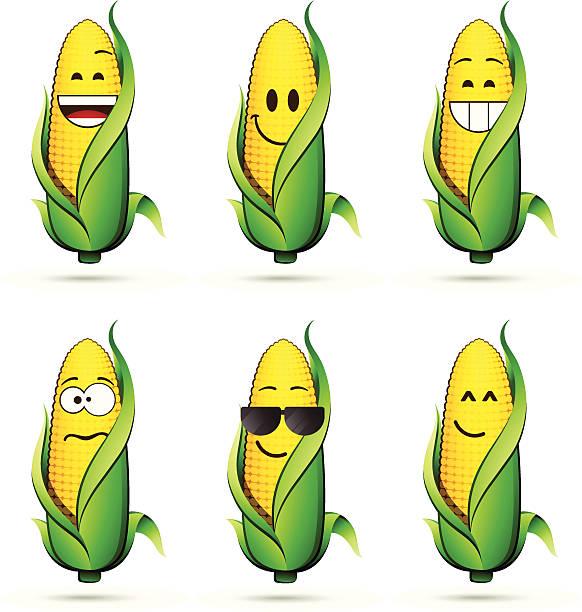 ilustrações de stock, clip art, desenhos animados e ícones de milho na espiga de caracteres - milho