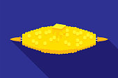 Vector illustration of corn on the cob against a blue background in flat style.