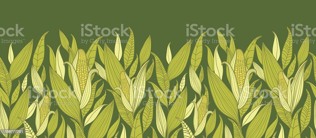Corn Plants Horizontal Seamless Pattern Background vector art illustration