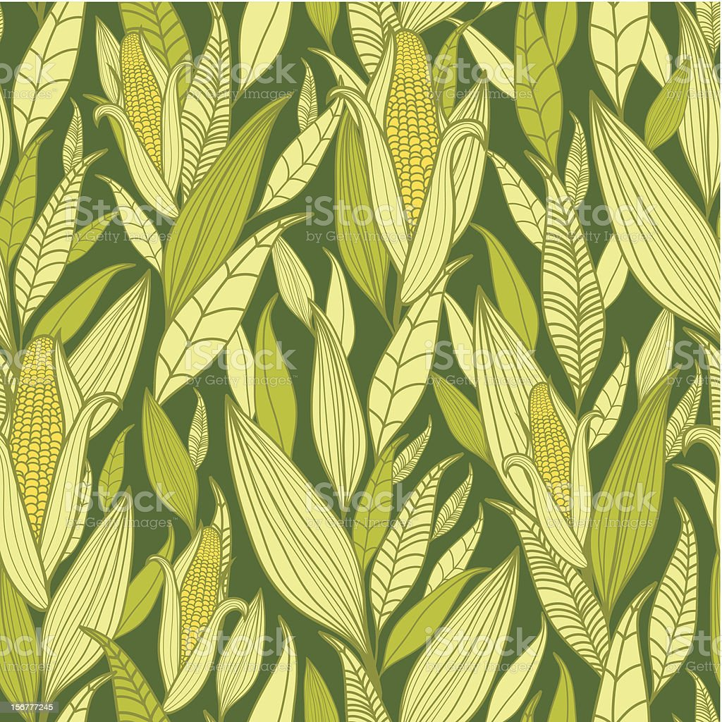 Corn Plants Seamless Pattern Background vector art illustration