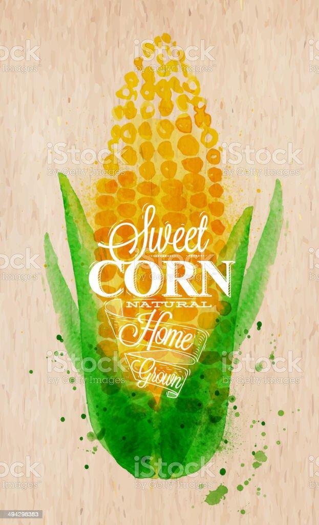 Corn watercolor poster vector art illustration