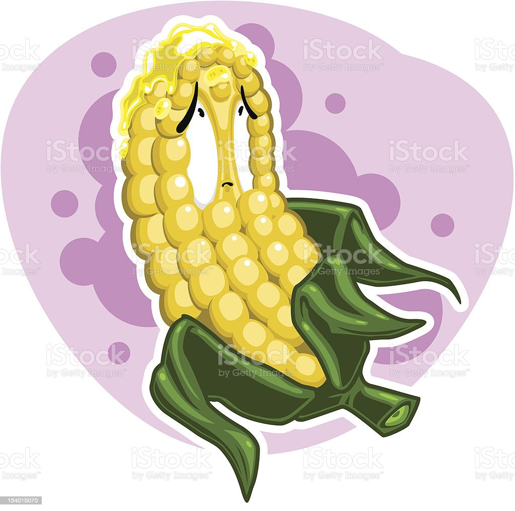 Corncob character with butter (vector) vector art illustration