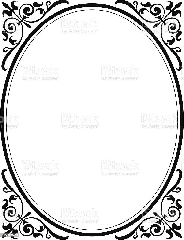 Corner Accents with Oval vector art illustration
