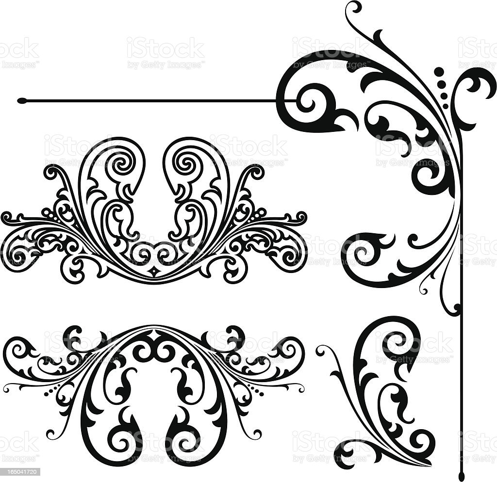 Corner and Flourish Designs vector art illustration