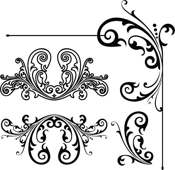corner and flourish designs - architecture borders stock illustrations
