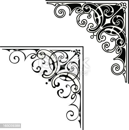 A set of corner designs with outlines,Saved in formats , AI ver 12, EPS ver 8, Corel Draw ver 8, PDF, and High Res Jpeg