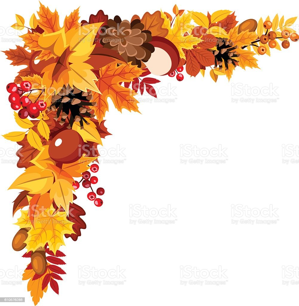 Corner Background With Colorful Autumn Leaves Vector ...
