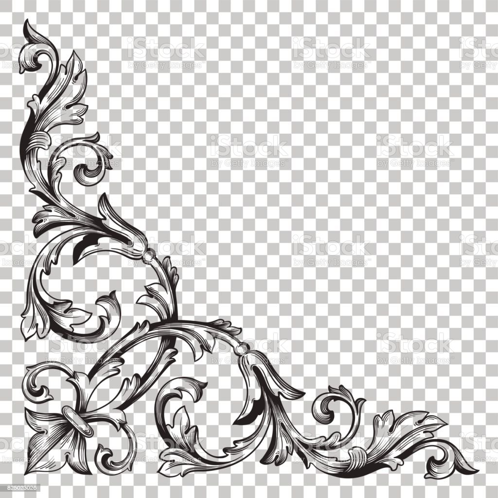 Corner Baroque Ornament Decoration Element Royalty Free Stock Vector