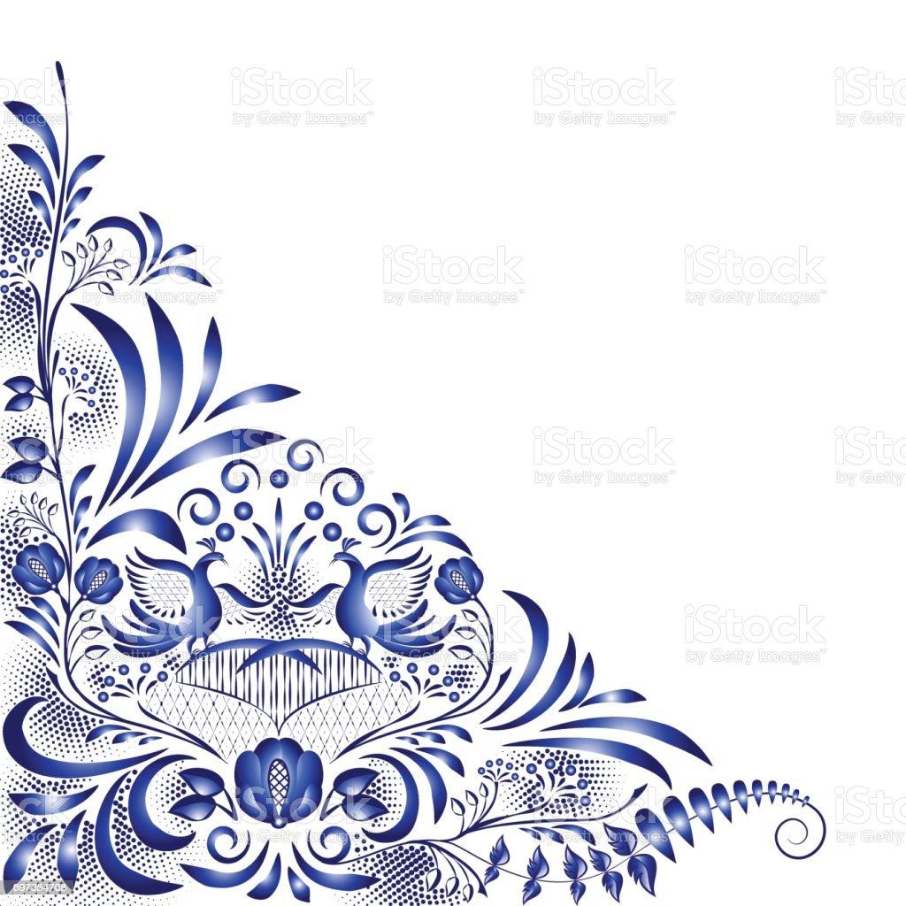 Kuşlar Ve çiçekler Porselen Ulusal Boyama Tarzı Köşe Mavi Desenle