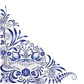 Corner blue pattern with birds and flowers in the style of national painting on porcelain. Decorative floral angle design element for cards, invitations, pages and ads.