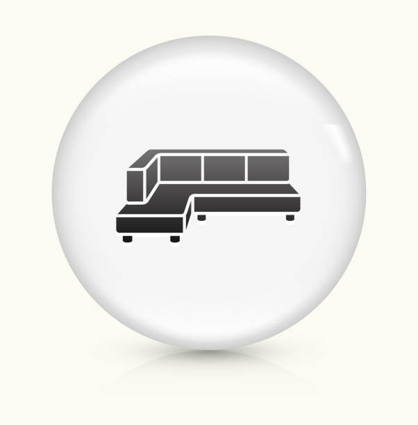 corner convertible sofa icon on white round vector button - funktionssofa stock-grafiken, -clipart, -cartoons und -symbole
