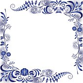 Corner design elements in the style of national porcelain painting. Template greeting card or invitation with blue flowers. Vector illustration